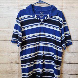Faded Glory Blue/white/black striped polo shirt LG